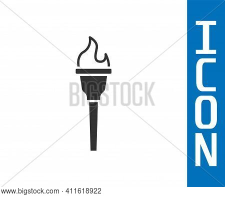 Grey Torch Flame Icon Isolated On White Background. Symbol Fire Hot, Flame Power, Flaming And Heat.