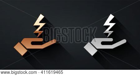 Gold And Silver Zeus Icon Isolated On Black Background. Greek God. God Of Lightning. Long Shadow Sty