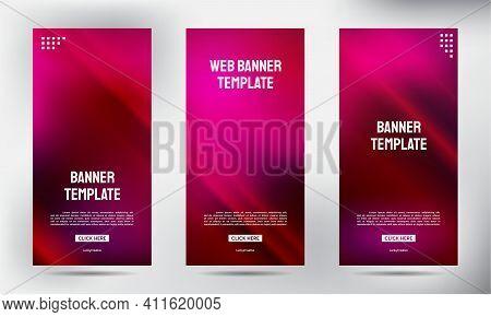 Set Of Pin Neon Roll Up Business Brochure Flyer Banner Design Vertical Template, Cover Presentation