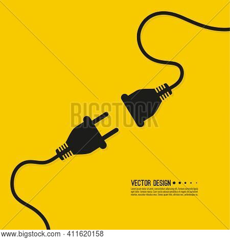 Abstract Background With Wire Plug And Socket. Concept Connection, Disconnection, Electricity.