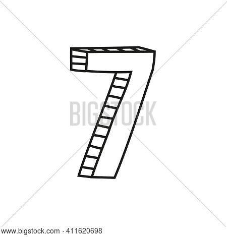 Vector Illustration Of Number Seven In Sketch Style. Hand Drawn Figure 7