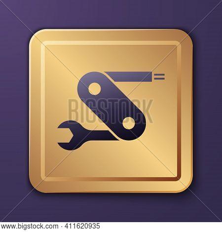 Purple Swiss Army Knife Icon Isolated On Purple Background. Multi-tool, Multipurpose Penknife. Multi