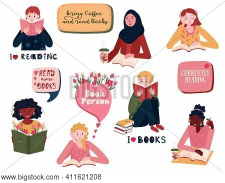 Set Of Reading Young Women. Bundle Of Female Student Prepare To Exam. Multinational People Are Book
