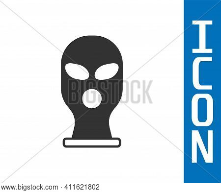 Grey Balaclava Icon Isolated On White Background. A Piece Of Clothing For Winter Sports Or A Mask Fo