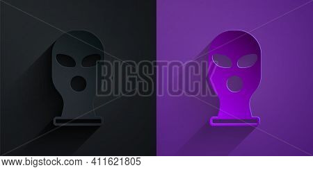 Paper Cut Balaclava Icon Isolated On Black On Purple Background. A Piece Of Clothing For Winter Spor