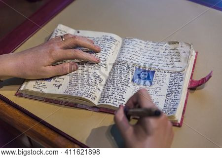 AMSTERDAM, NETHERLANDS - APRIL 25, 2017: Anne Frank diary in Madame Tussauds museum on April 25, 2017 in Amsterdam Netherlands.