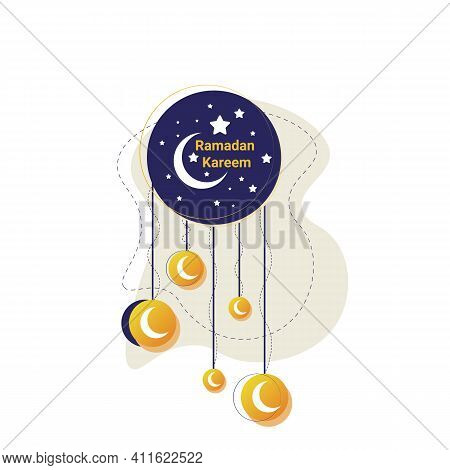 Ramadan Kareem Poster Or Invitations Design With Stars And Moon On White Background. Vector Illustra