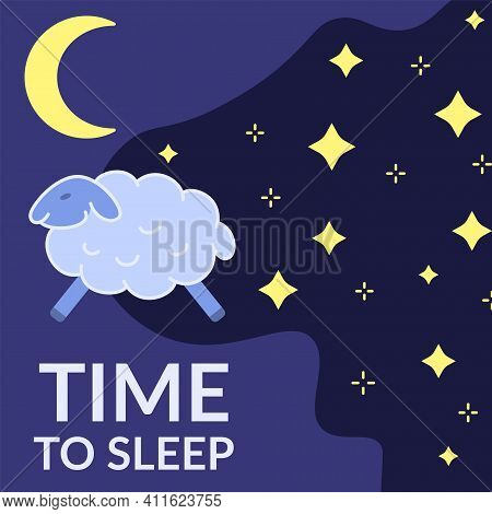 Time To Sleep Banner Template. Bedtime Positive Background With Starry Night Sky, Moon And Sheep. Go