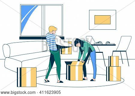 Family Couple Moving Into New House. Young Man And Woman Packing Belongings And Carrying Cardboard B