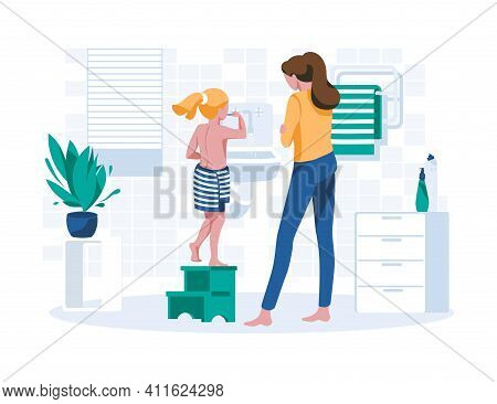 Mom And Her Daughter Cleaning Teeth In Bathroom. Home Bathroom Interior With People Doing Morning Hy