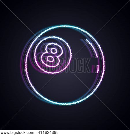 Glowing Neon Line Billiard Pool Snooker Ball With Number 8 Icon Isolated On Black Background. Vector