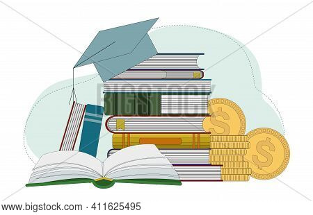 Books, Graduation Hat And A Stack Of Coins. Investment In Education. Scholarship. Education Payment