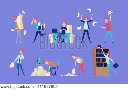 Chaotic Business People. Unorganized Office Characters Conflict Managers Chaos Workers Exact Vector