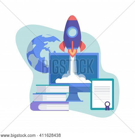 Start Up Concept. Business Project, Rocket On Screet Flight Up. Self Education, Investments In Onlin