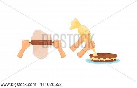 Hands Preparing Food Rolling Out Dough And Decorating Cake With Pastry Bag Vector Set
