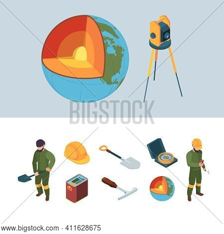 Geology Exploration. Earth Mantle Layers Garish Vector Isometric Processes Geologist Equipment Helme