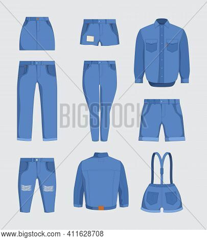 Jeans Clothes. Denim Fabric Casual Jackets And Pants For Male And Female Teenagers Garment Fashioned