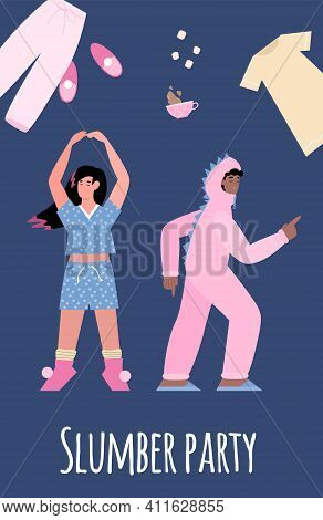 Pajama Party Poster With Fun Girl And Guy In Nightwear Clothes. Design Invitation On Slumber Holiday