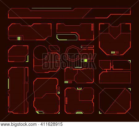 Hud Elements. Futuristic Frames And Borders Technologic Panels Shapes Tech Symbols Garish Vector Hud