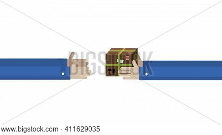 Long Transfer Of The Parcel From Hand To Hand. Postal Delivery Service