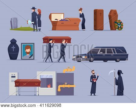 Death Ceremony. Burial Dying People Big Loss Psychology Problems Cemetery Rip Tomb Grave Exact Vecto