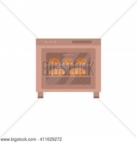 Baking In Electric Oven Fresh Loaves And Bread, Flat Cartoon Vector Illustration Isolated On White B