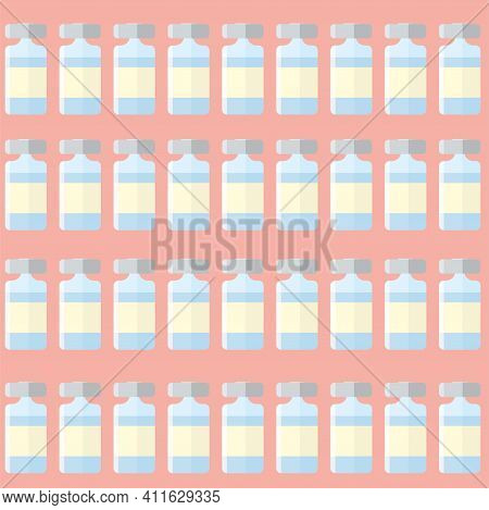 Vector Illustration With Many Unrecognizable Bottles Of Medicine Or Placebo. Stages Of Vaccine Testi