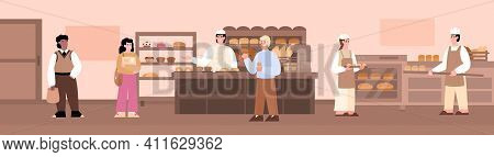 Bakery Store Interior With Bakers Producing Bread On Professional Equipment And Buyers, Cartoon Vect