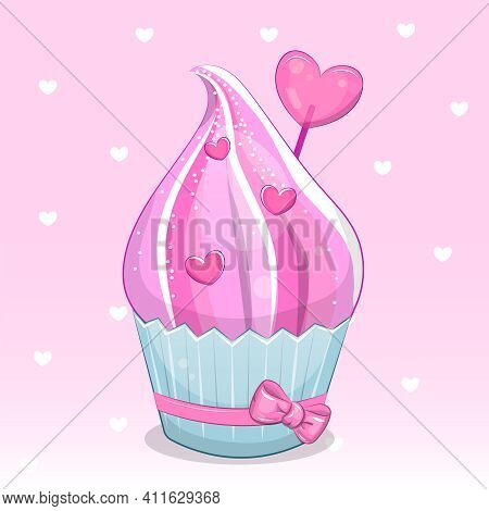 Cute Cartoon Pink Cupcake With Hearts. Vector Illustration Of Food On A Pink Background With Hearts.
