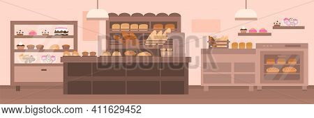Empty Bakery Interior. Shop Showcase And Wooden Shelves With Fresh Pastries, Sweets, Cakes And Bread