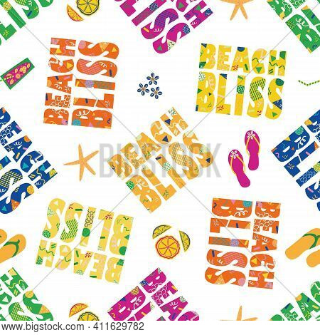 Beach Bliss Typography Vector Seamless Pattern Background.tropical Color Memphis Design Text, Flip F