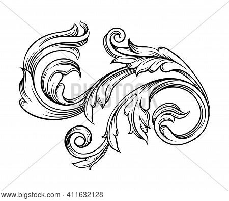 Baroque Scroll As Element Of Ornament And Graphic Design With Spiral And Circular Motif Vector Illus