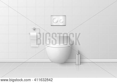 Vector 3d Realistic White Ceramic Toilet Closeup In The Bathroom, Toilet Room. Closed Toilet Bowl Wi