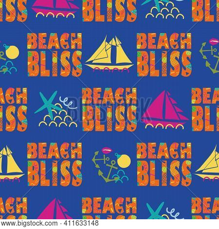 Beach Bliss Typography Vector Seamless Pattern Background.tropical Color Memphis Design Text, Sailin