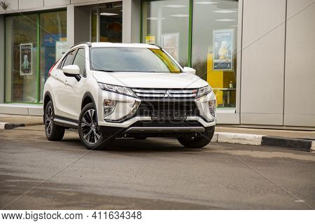 Moscow, Russia - September 30, 2019: Exterior Of The New Suv Car Mitsubishi Eclipse Cross. сcrossove