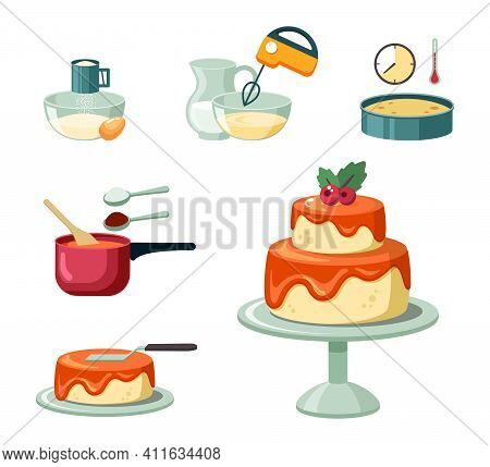Stages And Equipment Making Birthday Cake Set. Beat Yellow Crust Mass With Mixer And Bake In Oven Mi