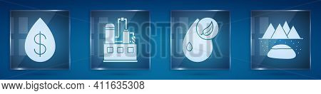 Set Oil Drop With Dollar, Oil Industrial Factory Building, Bio Fuel And Oilfield. Square Glass Panel