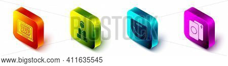Set Isometric Laptop And Slot Machine, Casino Dealer, Poker Table And Deck Of Playing Cards Icon. Ve