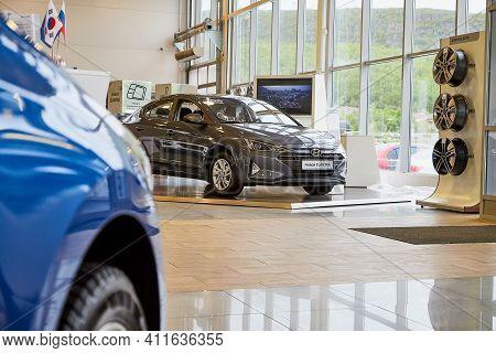Murmansk, Russia - June 21, 2019: Cars In Showroom Of Dealership Hyundai In Murmansk
