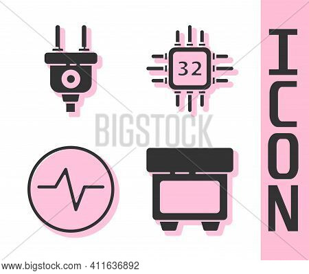 Set Fuse, Electric Plug, Electric Circuit Scheme And Processor With Microcircuits Cpu Icon. Vector