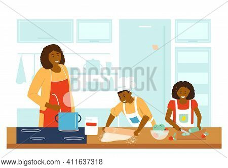 Afroamerican Family Cooking Together In Kitchen. Mother With Daughter And Son Making Dinner. Making