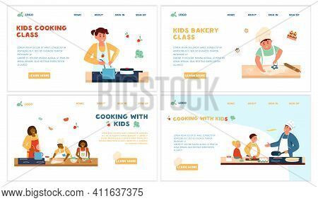 Cooking Kids Class Set Of Website Templates. Adults Cooking With Children. Bakery Class. Making Sala