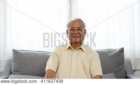 Portrait Shot: Smiling Of Asian Senior Male Enjoy Life Retirement Plan For Insurance Happy Enjoy Lif