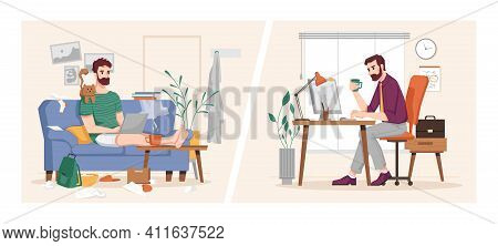 Man Working At Computer In Office And At Home, Vs Flat Cartoon Illustration. Businessman At Work Pla