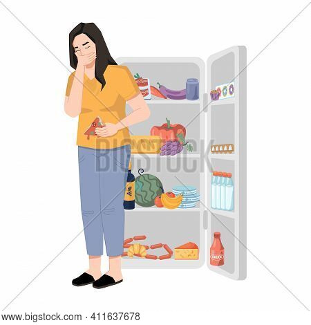 Bulimia Nervosa, Woman Who Overeats And Feels Sick Isolated Lady Near Refrigerator. Eating Disorder,