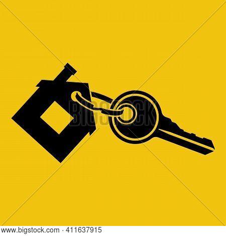 House Key With Trinket House-shaped. Rental Estate. Sale Property Template. Vector Illustration Flat