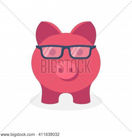 Smart Piggy Bank, Pink Pig With Glasses. Counting Savings. Saving Money In Cash. Conservation Of Fun