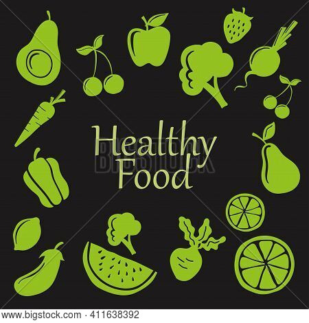 Hand Drawn Vector Illustration Of Fruit And Vegetable. Suitable For Design Element Of Healthy Food P