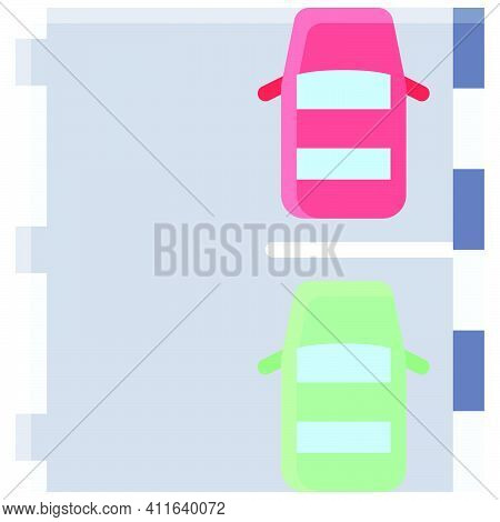 Parking Lot With Two Cars Icon, Parking Lot Related Vector Illustration