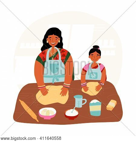 Mother And Daughter Pastime, Together Cooking Concept. Indian Woman Teaches Her Little Girl To Bake